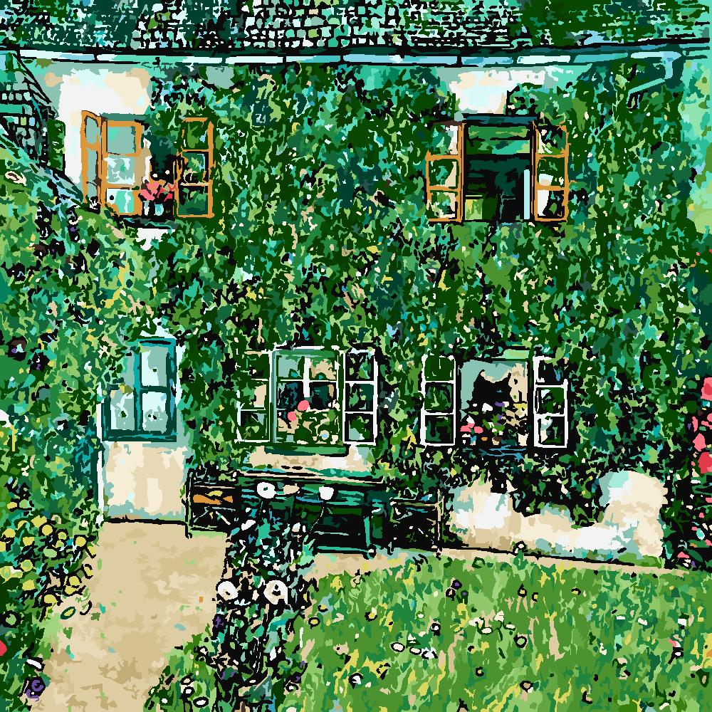 Картина по номерам «Густав Климт. Дом в Вайсенбахе на Аттерзее»