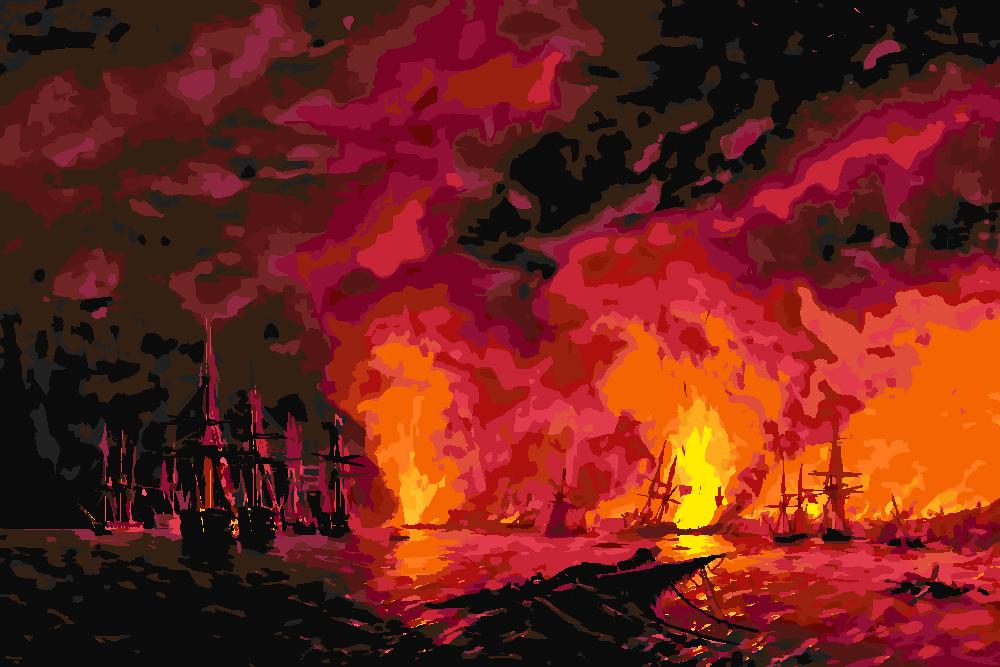 Картина по номерам «И.К. Айвазовский. Синопский бой 18 ноября 1853 года»