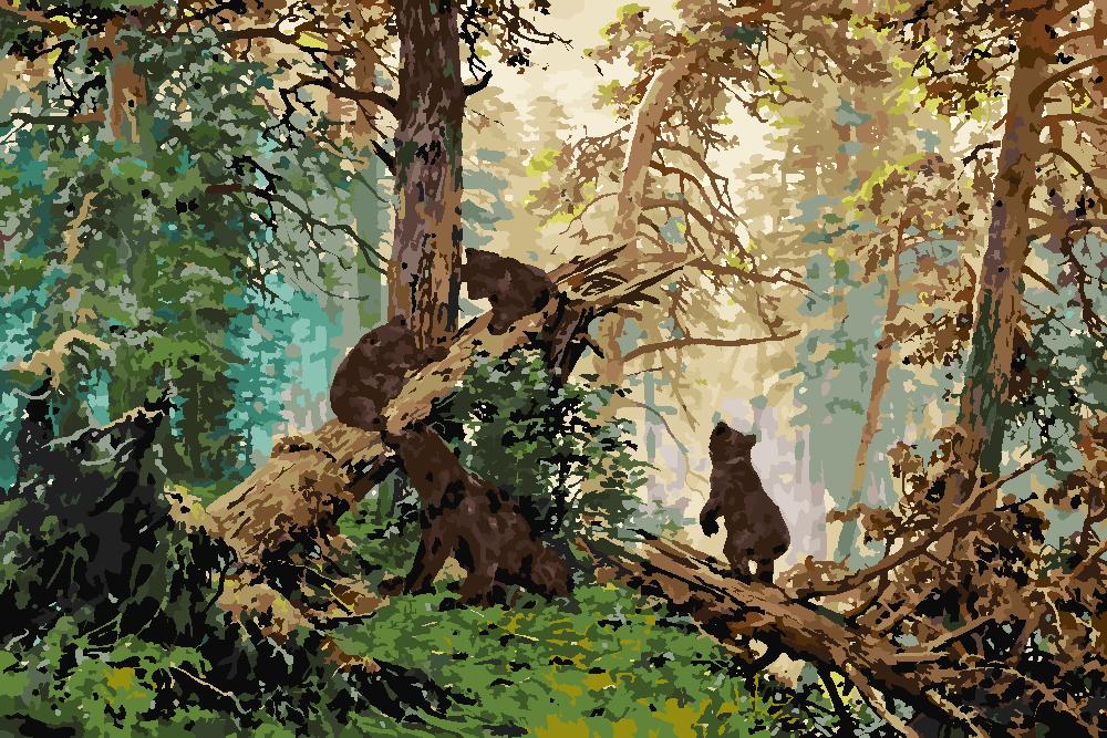 Картина по номерам «И.И. Шишкин. Утро в сосновом бору»