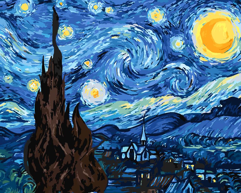 Картина по номерам «Винсент Ван Гог. Звездная ночь»